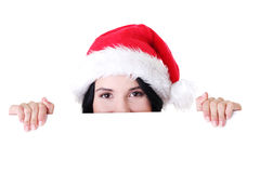 Santa girl holding blank board Royalty Free Stock Image