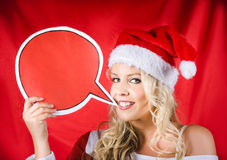 Santa Girl Holding Blank Bubble Board Stock Photos