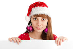 Santa girl holding empty board Stock Image