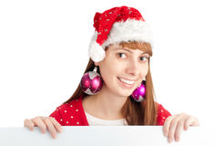 Santa girl holding empty board Stock Photography