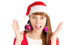 Santa girl holding empty board Stock Images