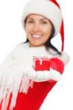 Santa Girl holding a Gift Box Stock Photo