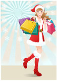 Santa Girl holding paper bags.Christmas shopping. Santa Girl holding shopping bags on snowflakes. Christmas shopping. Vector Stock Images