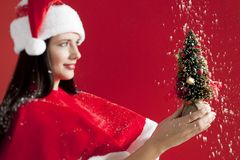 Santa girl holding a small Christmas tree Stock Photo