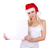 Santa girl holding the white board Royalty Free Stock Photography