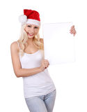 Santa girl holding the white board Stock Photo