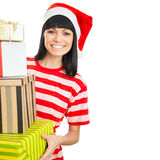 Santa girl isolated on white background. Stock Photos