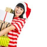 Santa girl isolated on white background. Stock Images