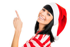 Santa girl isolated on white background. Stock Photo