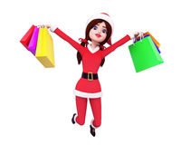 Santa girl is jumping with shopping bags Stock Photo