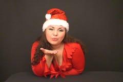 Santa girl kiss stock footage
