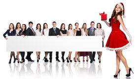 Santa girl and large group of business people Stock Photography