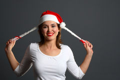 Santa girl laugh Royalty Free Stock Image