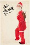 Santa Girl mit einer Schultasche auf der Rückseite, Text-Job wünschte, Weinlese Stockbild