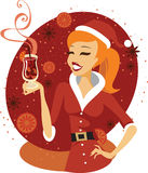 Santa girl with mulled wine Stock Images