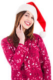 Santa girl in night dress. On a white background Stock Photography