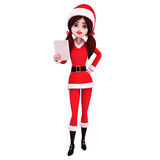 Santa girl observing white paper Royalty Free Stock Photos