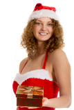 Santa girl offers gift box Stock Images