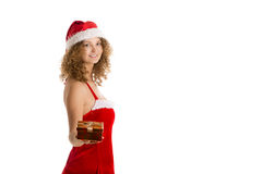 Santa girl offers gift box Stock Photo
