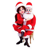 Santa girl is with old santa Royalty Free Stock Image