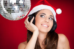 Santa girl on party Royalty Free Stock Photos