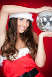 Santa girl, party, disco ball Stock Images