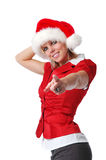 Santa girl pointing Royalty Free Stock Photography