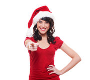 Santa girl pointing at you Royalty Free Stock Photos