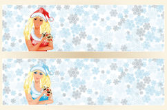 Santa girl with poker cards banner Royalty Free Stock Photography