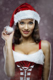 Santa girl. Portrait of cute young cheerful santa girl Royalty Free Stock Image