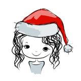 Santa girl portrait, sketch for your design Stock Photo