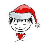 Santa girl portrait, sketch for your design Stock Image