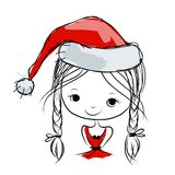Santa girl portrait, sketch for your design. Vector illustration Stock Photos