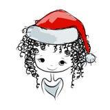 Santa girl portrait, sketch for your design Royalty Free Stock Photos