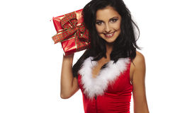 Santa girl portrait smiling Royalty Free Stock Photography