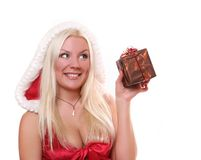 Santa-girl with present Stock Photos