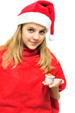 Santa girl with present Stock Photo