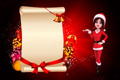 Santa girl on red background with jingle bells Royalty Free Stock Photos