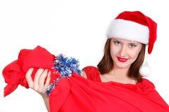 Santa girl with red bag Royalty Free Stock Photo