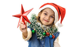 Santa girl red star Royalty Free Stock Images