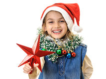Santa girl red star smiling Stock Photos