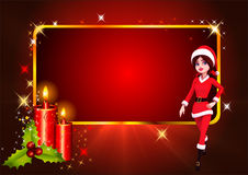 Santa girl running on red background Stock Photo