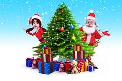 Santa girl with santa claus and many gifts Stock Photo