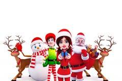 Santa girl with santa and snow man Royalty Free Stock Image