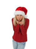 Santa girl sending a kiss Stock Images