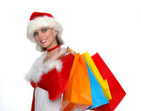 Santa Girl Shopping Royalty Free Stock Photo