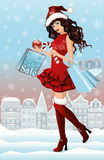 Santa girl with shopping bags in city. Vector illustration Royalty Free Stock Images