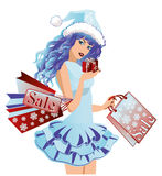 Santa girl with shopping bags Royalty Free Stock Images