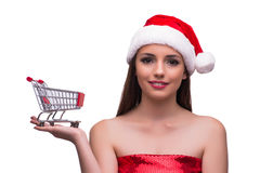 The santa girl with shopping cart isolated on white Stock Photography