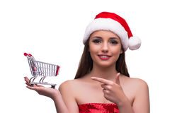 The santa girl with shopping cart isolated on white Royalty Free Stock Photo